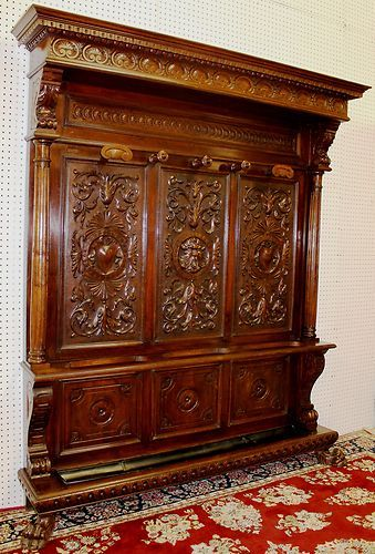 Antique Country French Walnut Northwind Hand Carved Hall Tree Circa 1870 | eBay