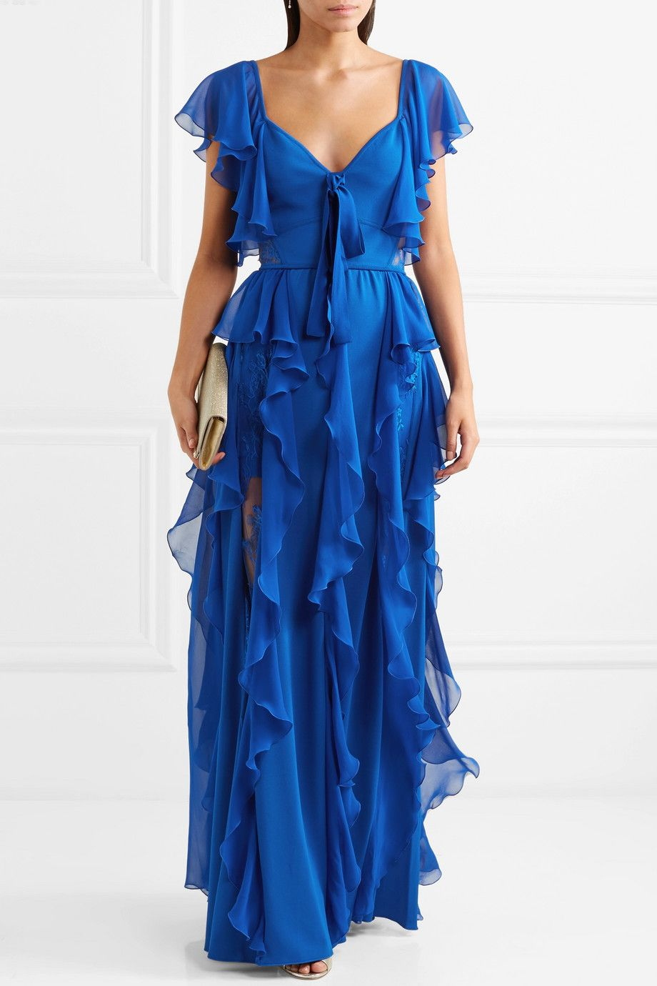 Ruffled Georgette And Lace Gown - Blue Elie Saab p52nYyy