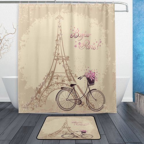 Pin By Amazon Seller On Eiffel Tower Shower Curtain With Rug Fabric Shower Curtains Shower Curtain Sets Bathroom Sets
