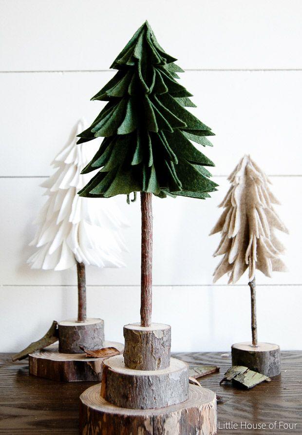 How To Make Diy Rustic Felt Christmas Trees Felt Christmas Tree Rustic Christmas Ornaments Felt Christmas