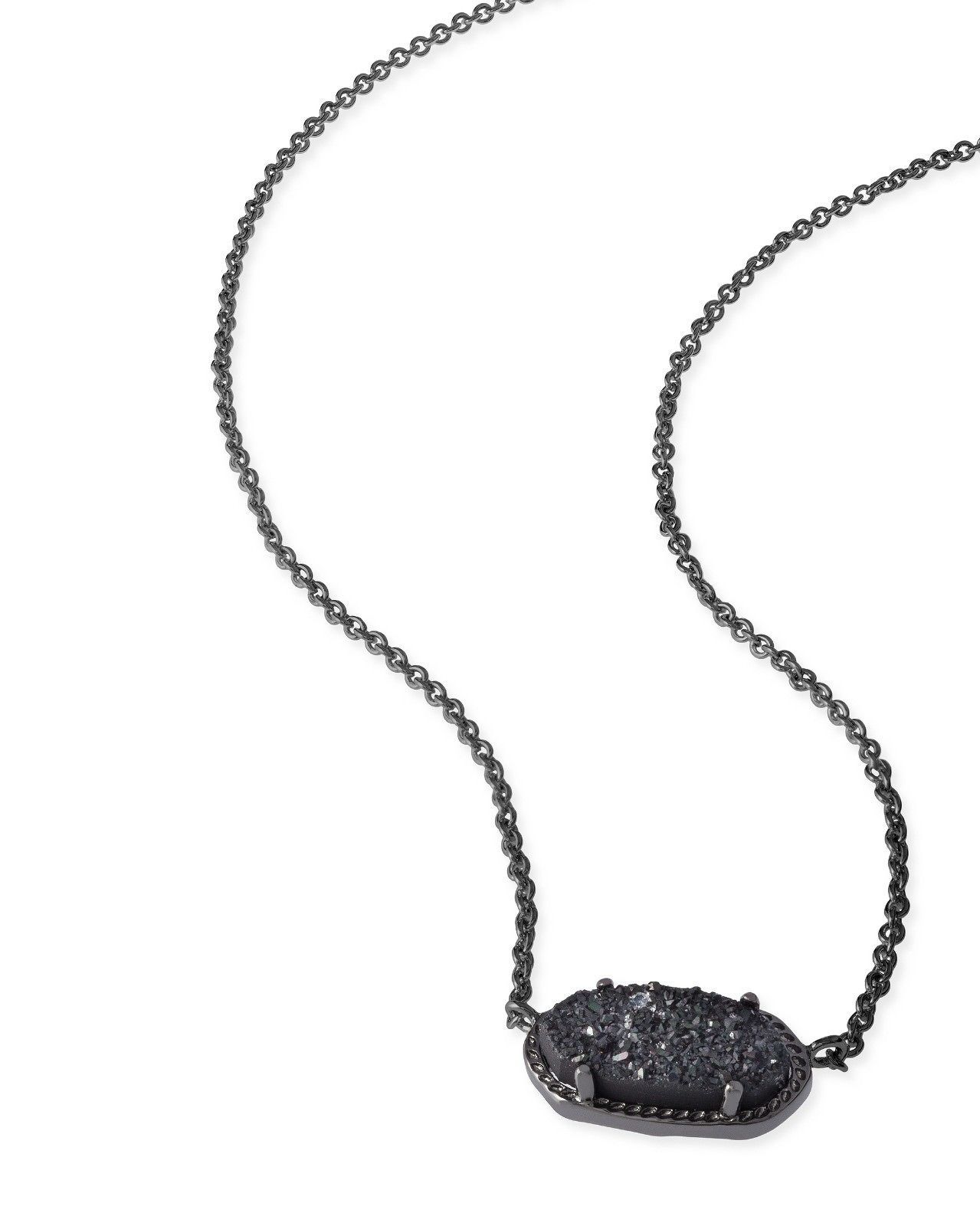 Kendra scott elisa oval pendant necklace in black drusy and gunmetal