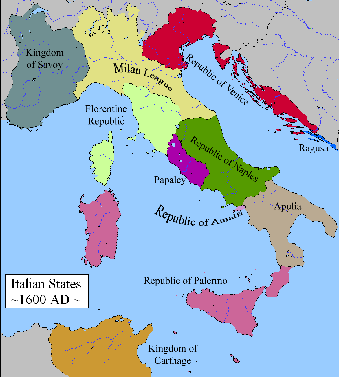 Map Of South Italy.A Map Where Mercantile Republics Hang On In South Italy As Well As