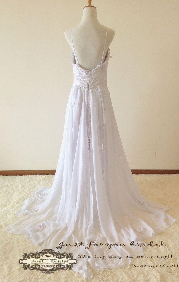 Hochzeitskleider - Sexy niedrige Rücken Spitze Brautkleid Split Tuch - ein Designerstück von ZitaaYoung bei DaWanda