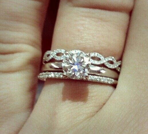 Infinity Wedding Band With Halo Engagement Ring
