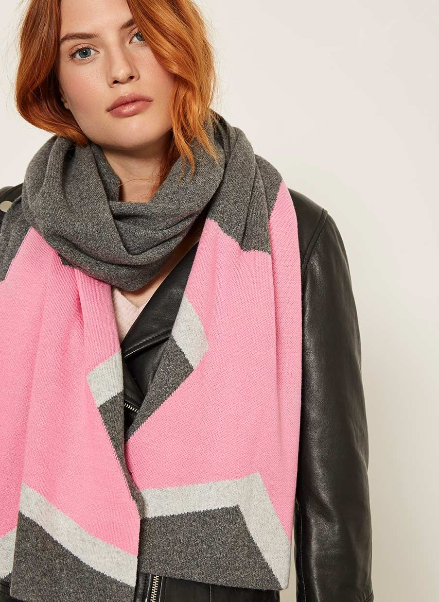 86dc79faa Grey & Pink Star Scarf | NEW ARRIVALS | Pink stars, Grey scarf, Pink ...