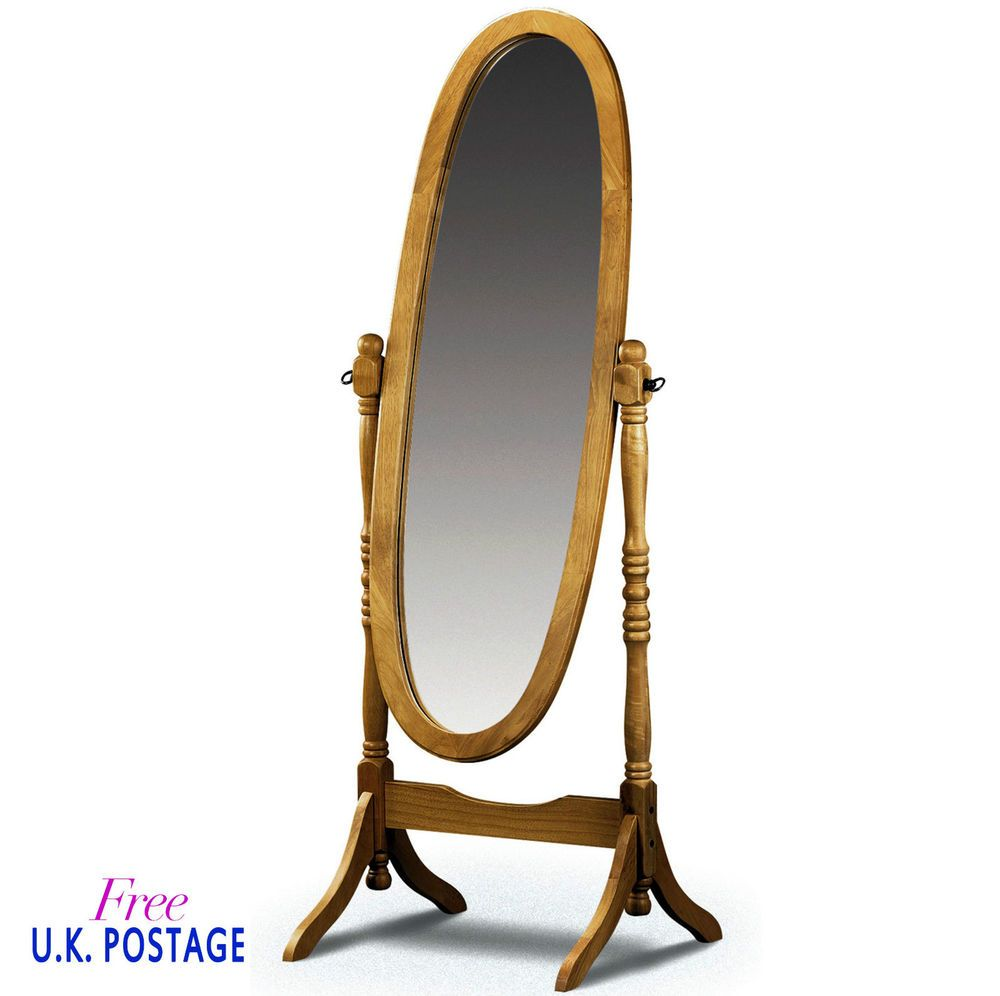Full Length Floor Mirror Cheval Oval Shape Free Standing Solid Pine ...