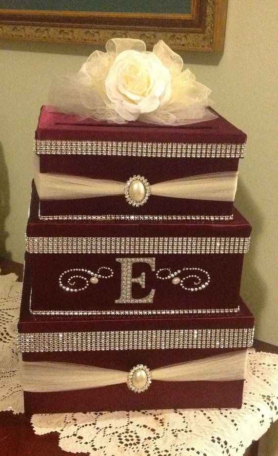 Wedding card box, card box, secure card box, locking card box, money ...
