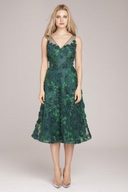 f6b95ae3dbe Teri Jon by Rickie Freeman Tulle Dress with Floral Appliques