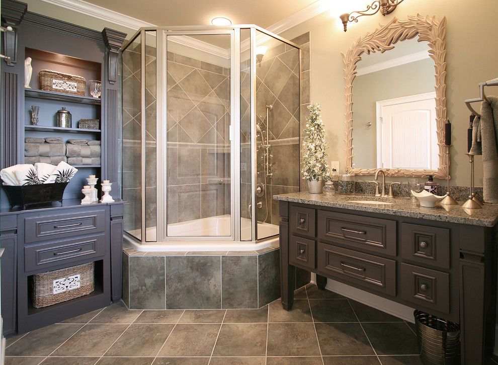 corner tub shower combo Bathroom Traditional with bathroom ...