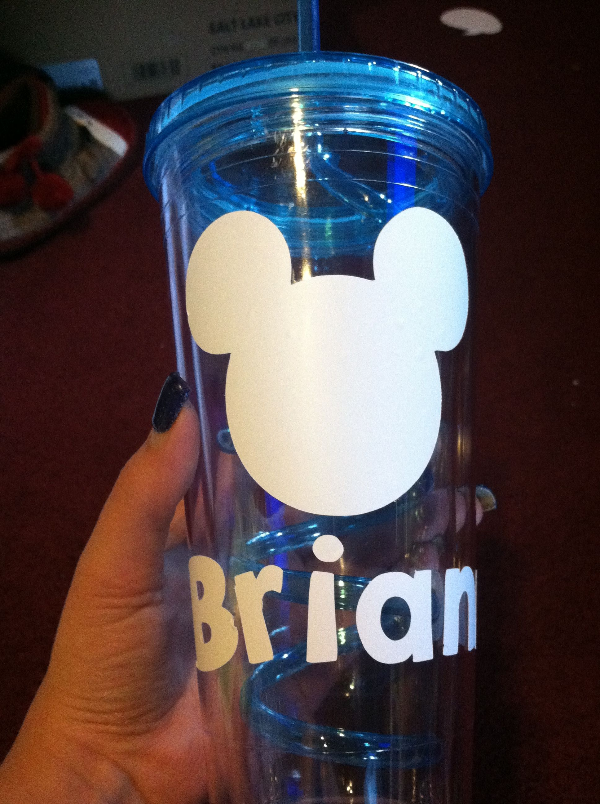 My first go at personalized Disney cups/water bottles!