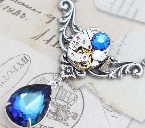 Steampunk Necklace  Steam Punk Jewelry - Bermuda Blue Clockwork - Vintage Bulova Watch Necklace - Handmade by Inspired by Elizabeth. $49.50, via Etsy.