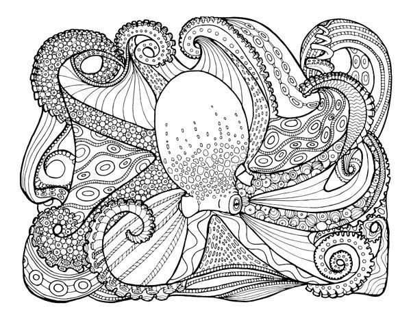 Zentangle Inspired Octopus Printable Adult Coloring Page by - copy pinterest fish coloring pages