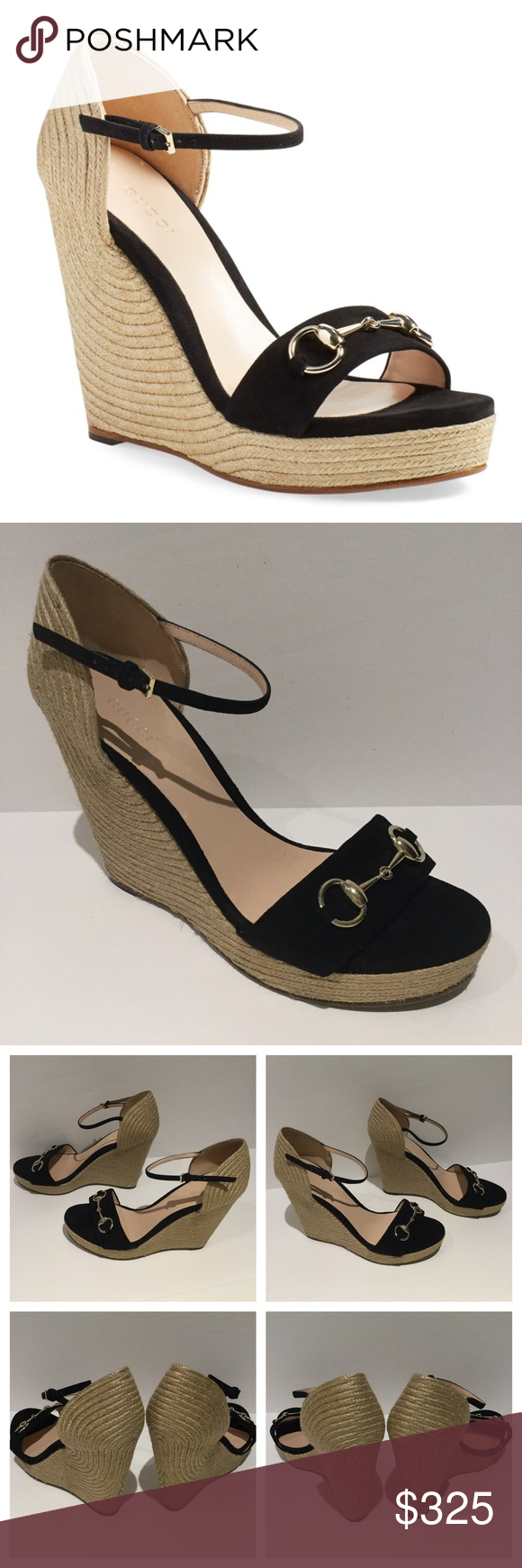 71cec5f229 GUCCI CAROLINA SUEDE WEDGE SANDAL. NEW WITHOUT TAGS Carolina Suede ...
