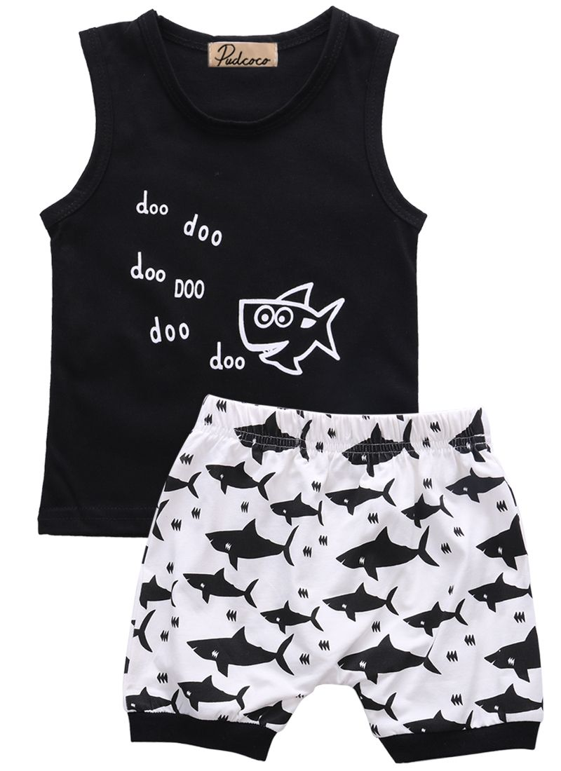 3e4af88bc9b3 Click to Buy    baby summer 2pcs suit!! newborn kids baby boys clothes set  letter printed sleeveless tops + shark printed shorts outfits  Affiliate