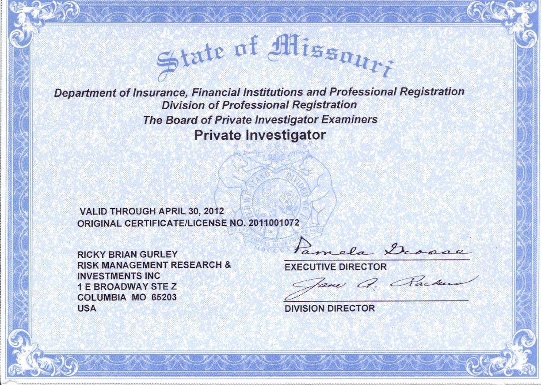 Rick Gurleys Pi License Certificate Rmri Inc Pinterest