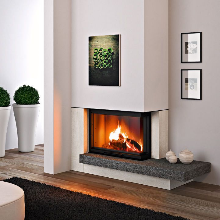 revestimiento de chimenea moderno acero de piedra de