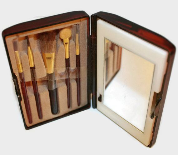 Vintage AVON Tortoise Tone Light-up Makeup Mirror and Mini Brush Set ~ Compact Brush Set and Mirror ~ Like New Condition ~ by ArtsyVintageBoutique