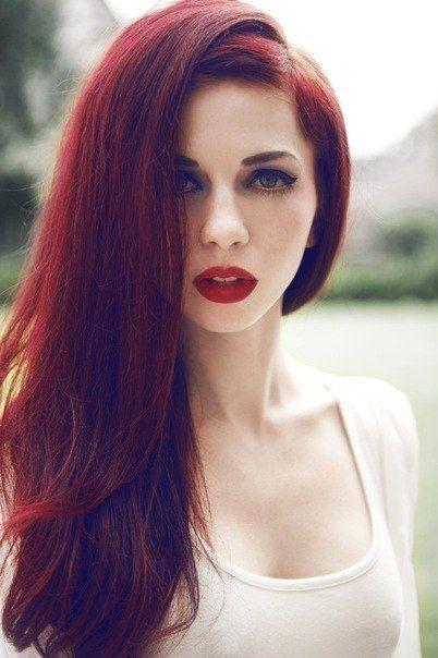 Темно-красный цвет волос фото