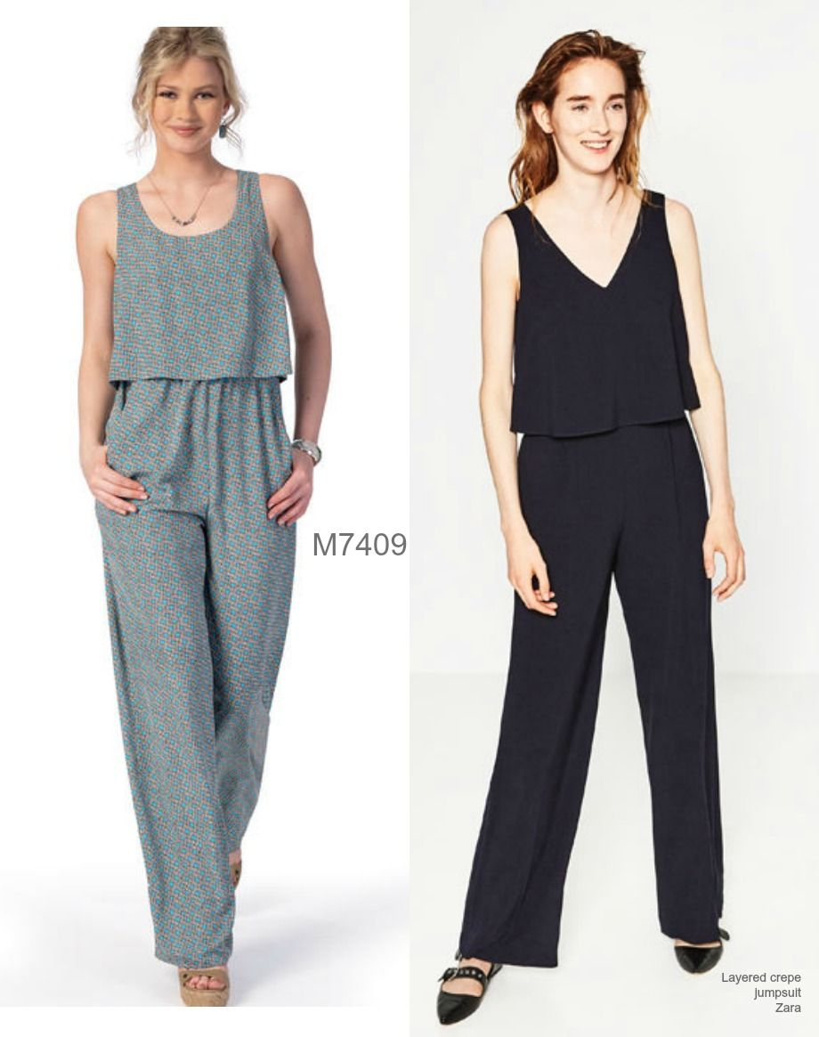 M7409 jumpsuit pattern womens bodice sewing clothes