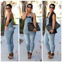 Plus glam | overalls+bustier+vest+heels