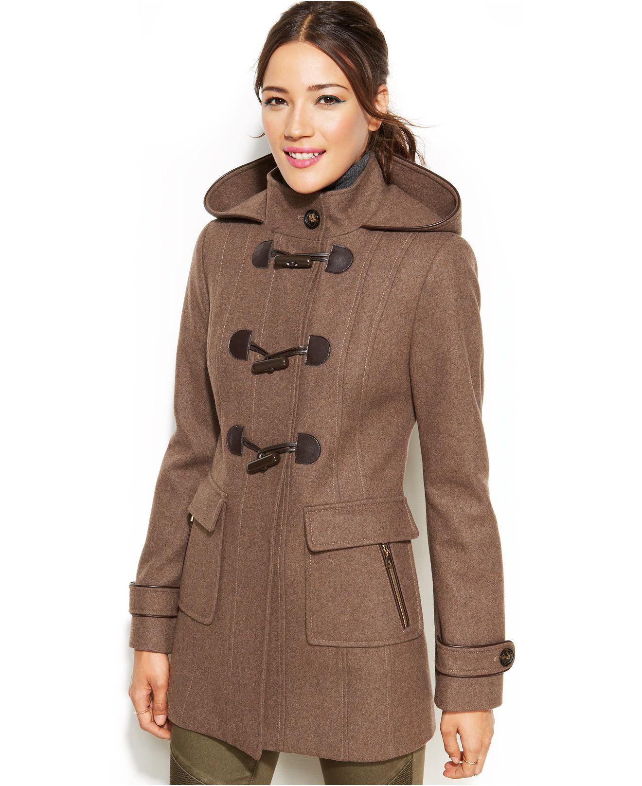 Laundry By Design Faux Leather Trim Hooded Toggle Front Coat Coats Women Macy S Coat Coats For Women Coats Jackets Women