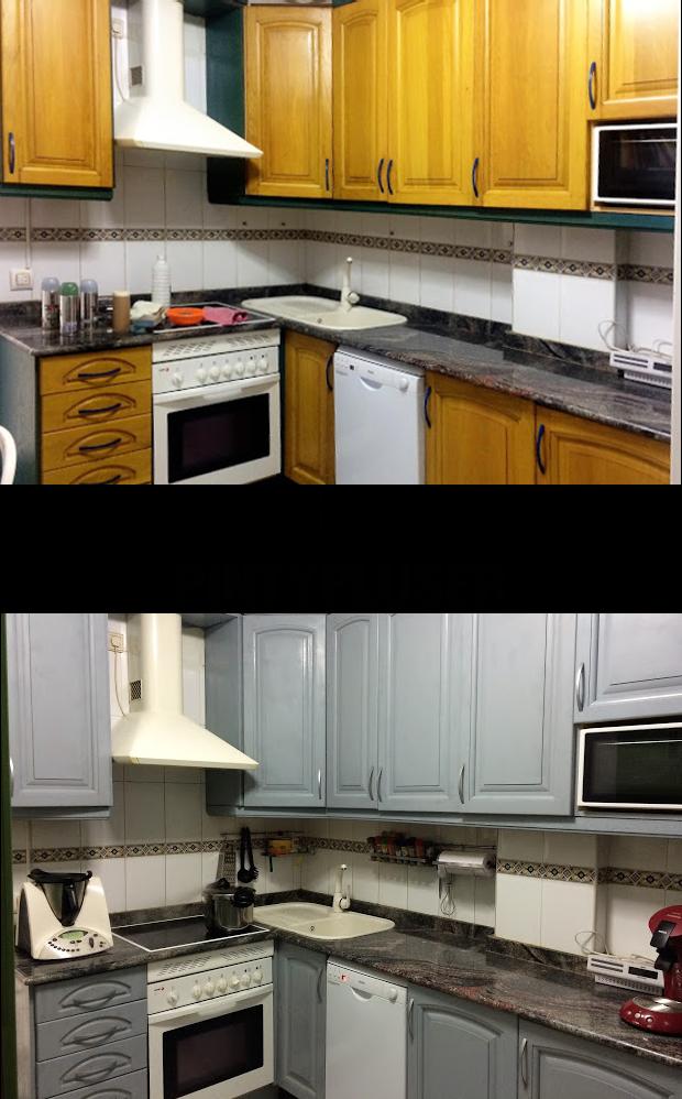 Otro cambio espectacular para una cocina pintada con - Pintura para muebles de cocina ...