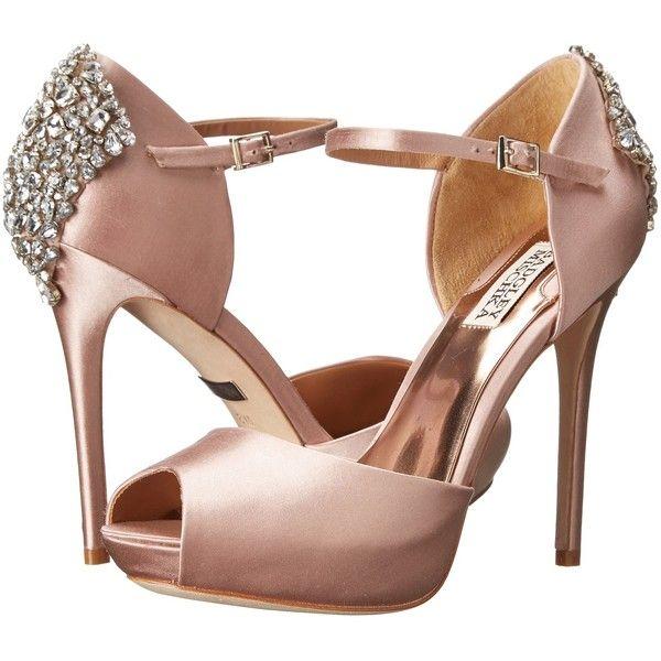 Badgley Mischka Gene Blush Satin High Heels 123 Liked On Polyvore Wedding Shoesblush
