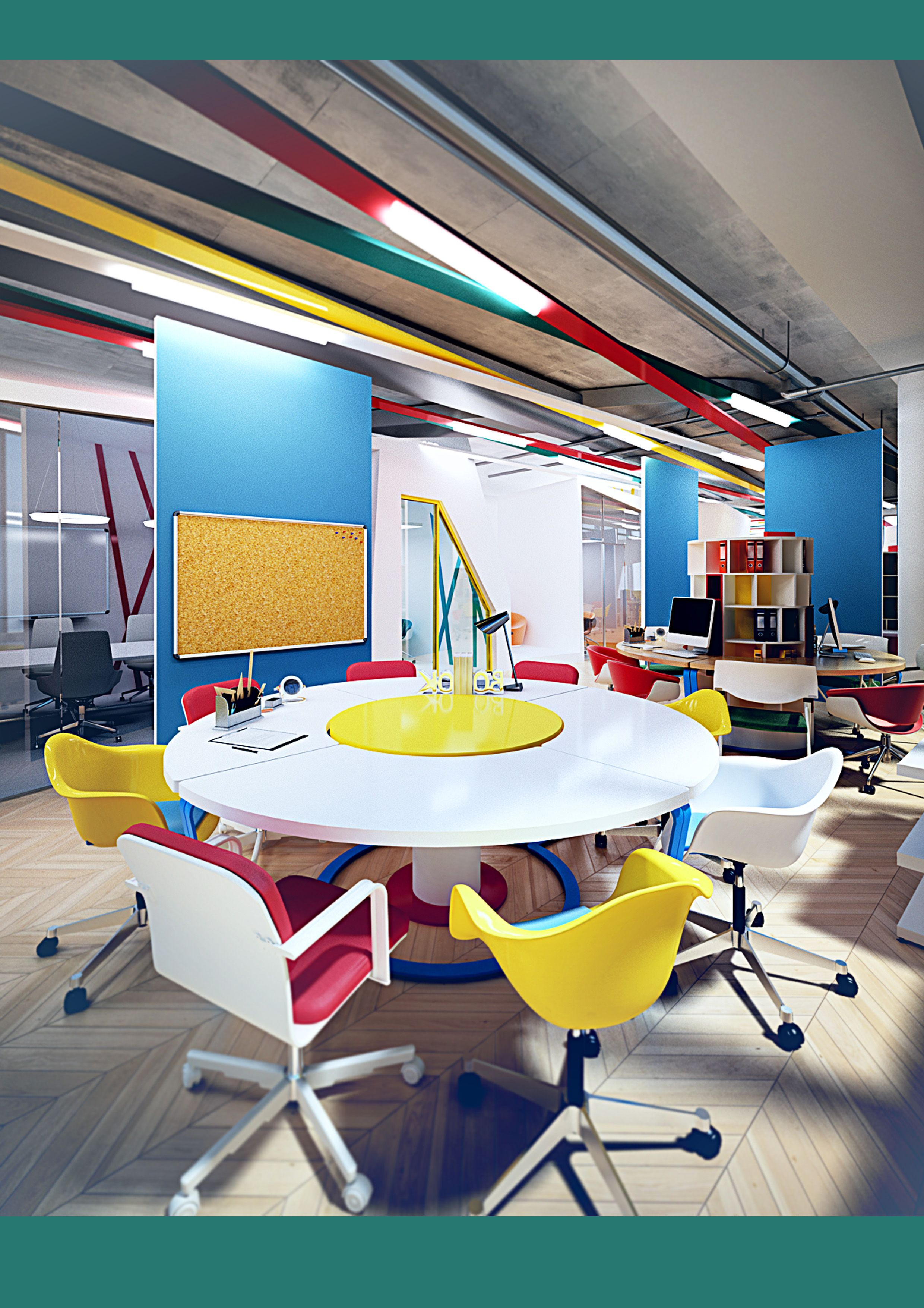 Design Room Layout Online: Colorful Meeting Room