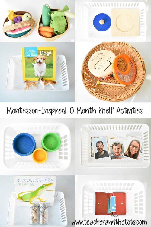 10 Montessori-inspired shelf activities for 10 month olds! A mix of fine motor, gross motor, and language/discovery baskets. #montessori #montessoribaby #10months