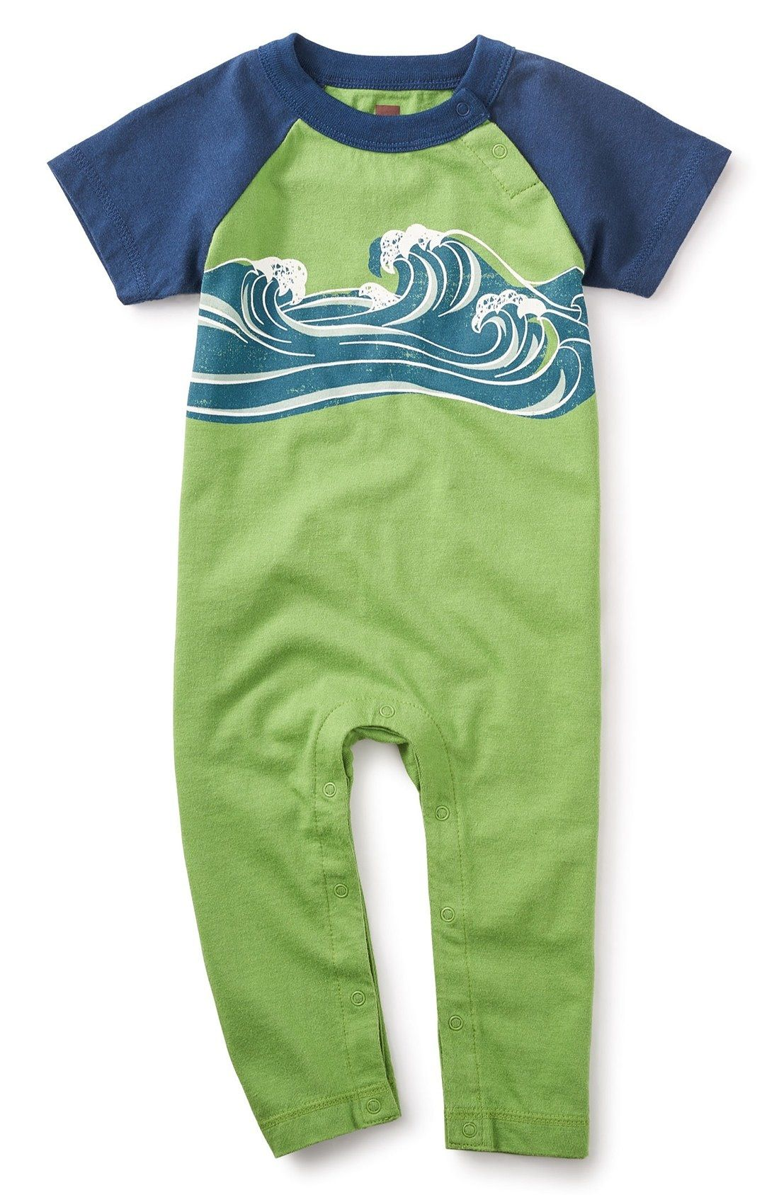 Tea Collection Wave On Graphic Romper Baby Boys