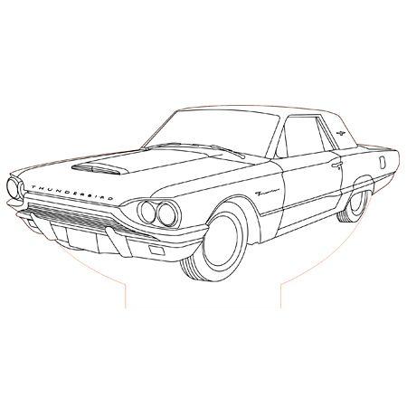 Ford Thunderbird 3d Illusion Lamp Vector File Desenhos