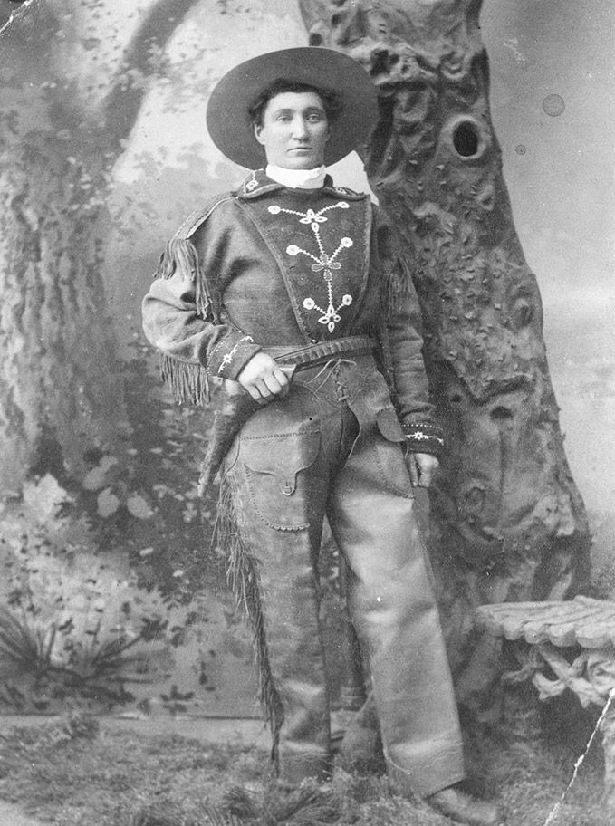 Calamity Jane in an outfit she may have worn in shows and parades, Evanston, Wyo., 1880s.