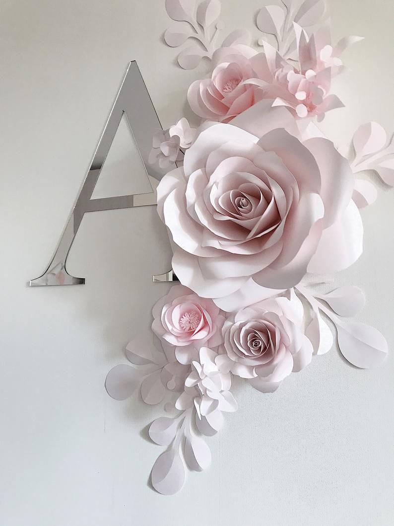 Soft Pink Paper Flower Wall Decor Nursery Wall Decor Paper Flowers Nursery Set Up Code 174 In 2020 Paper Flower Wall Paper Flower Wall Decor Flower Nursery