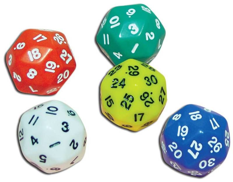 "30 Sided Dice, 1"" (Set of 5)"