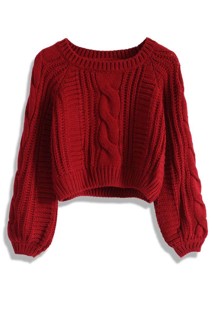 Suéter Corto con Tejido de Patrón de Cable en Vino - New Arrivals - Retro d13fa3dd53e6