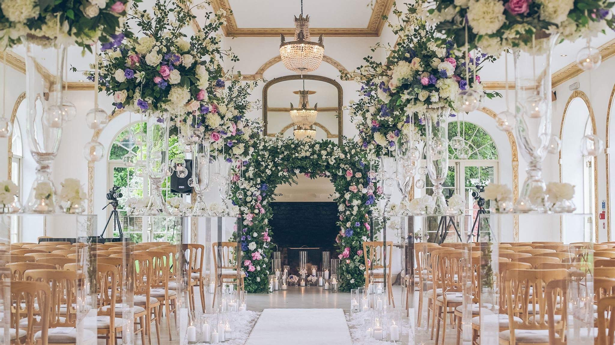 English Garden Theme Wedding At Northbrook Park Floral Arch Silk