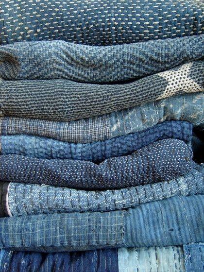 herminehesse: Japanese Shibori indigo dyed antique quilts. Sashiko running stitches