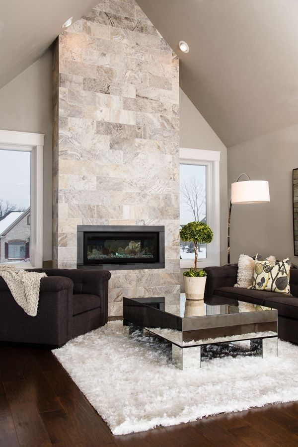 Pareti di pietra per interni di design | Fireplace design ...