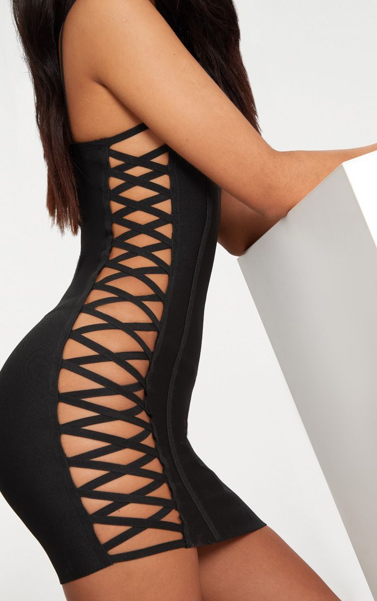 Lace up side bodycon dress