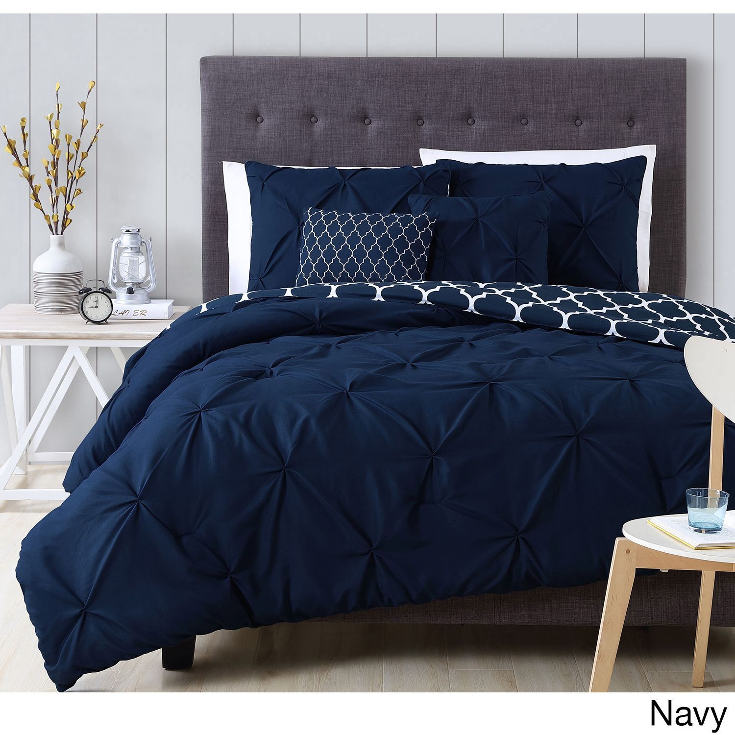 Avondale Manor Madrid 5 Piece Comforter Set King Navy Blue Microfiber Geometric