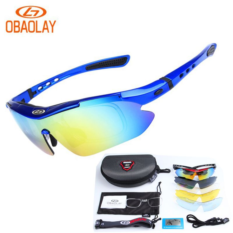 5202c3e9dd1d OBAOLAY Polarized Cycling Glasses Eyewear for Bike Bicycle Riding Outdoor  Sport Fishing Sunglasses 5 Lens Gafas de ciclismo