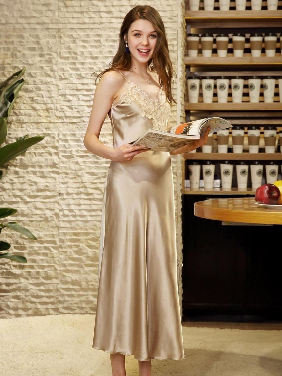 Contrast Lace Split Side Night Dress Shein Sheinside Night Dress For Women Night Dress Night Gown [ 1199 x 900 Pixel ]