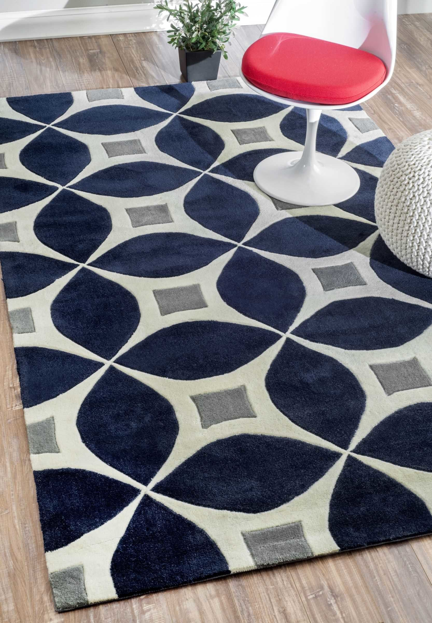 Jamar Handmade Navy Blue Gray Area Rug In 2019 Modern Dollar