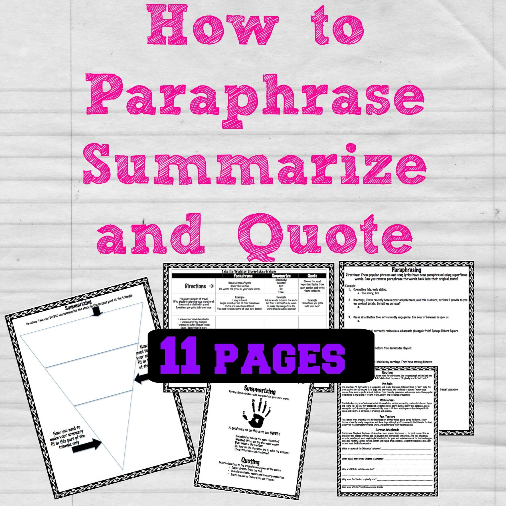 Paraphrasing Summarizing And Quoting Practice Middle School Reading Summarize Worksheet