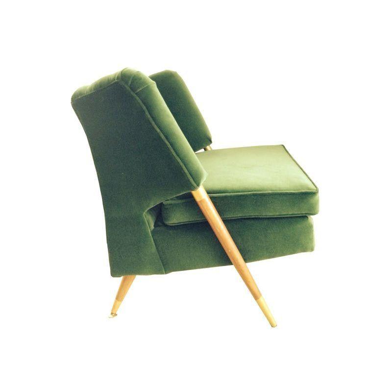 Mid Century Emerald Green Velvet Chair Emerald Green Velvet