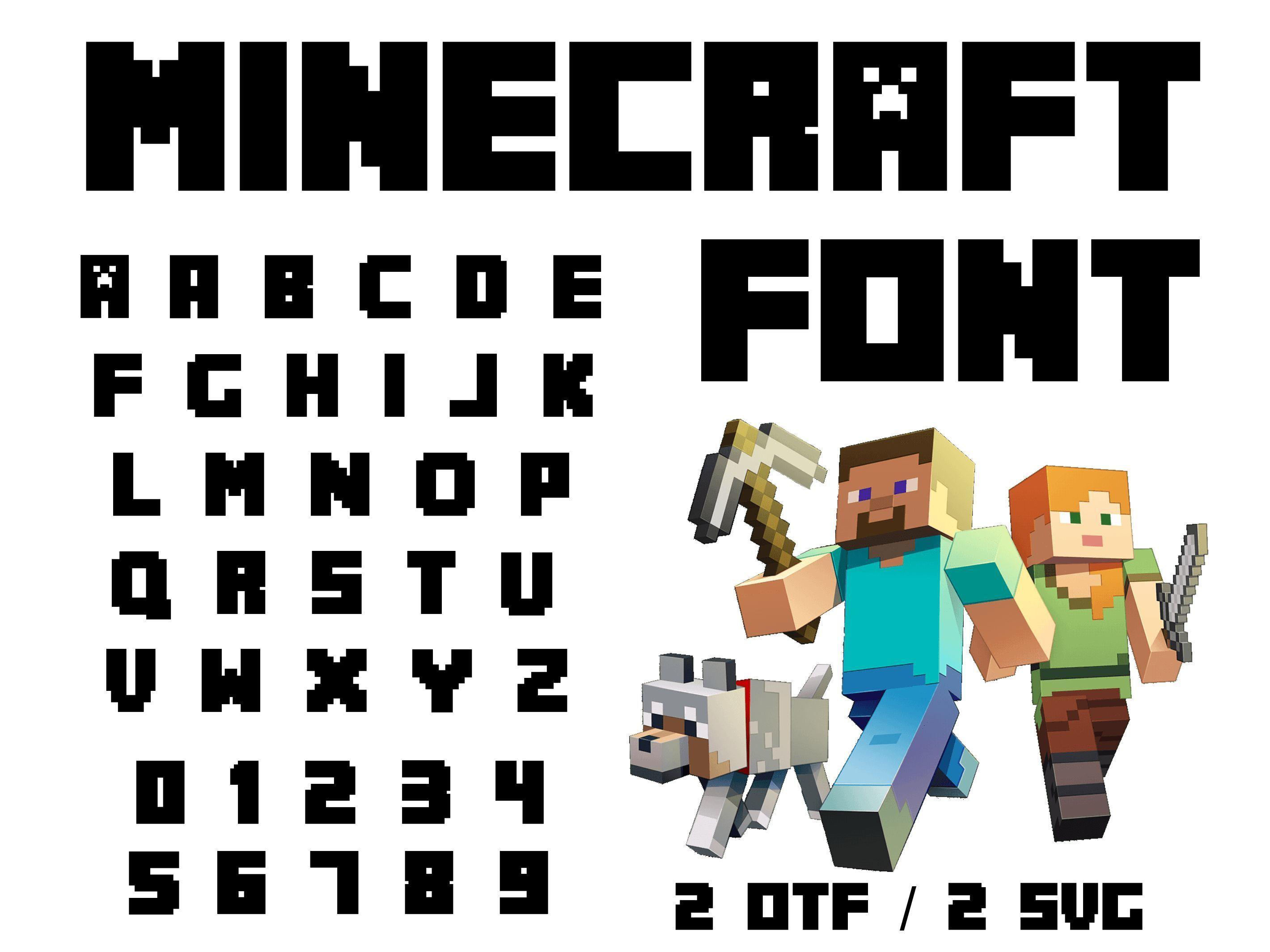 Minecraft font otf, Minecraft font svg, Minecraft