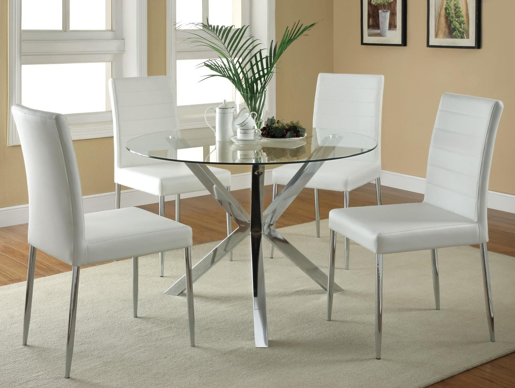 Vance White Table 120760 Coaster Furniture Dining Room Sets In 2021 Glass Round Dining Table Modern Kitchen Tables Dining Room Sets