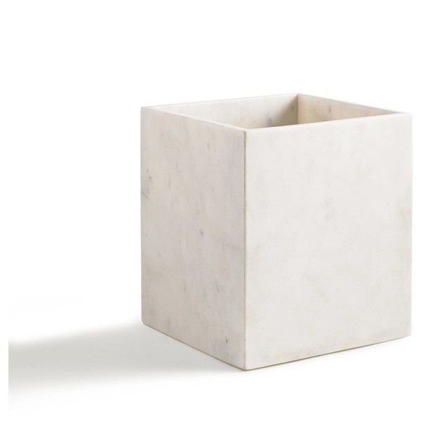 Kassatex Pietra White Wastebasket ($99) ❤ liked on Polyvore featuring home, bed & bath, bath, bath accessories, white waste bin, kassatex, kassatex bathroom accessories, white bath accessories and kassatex bath accessories