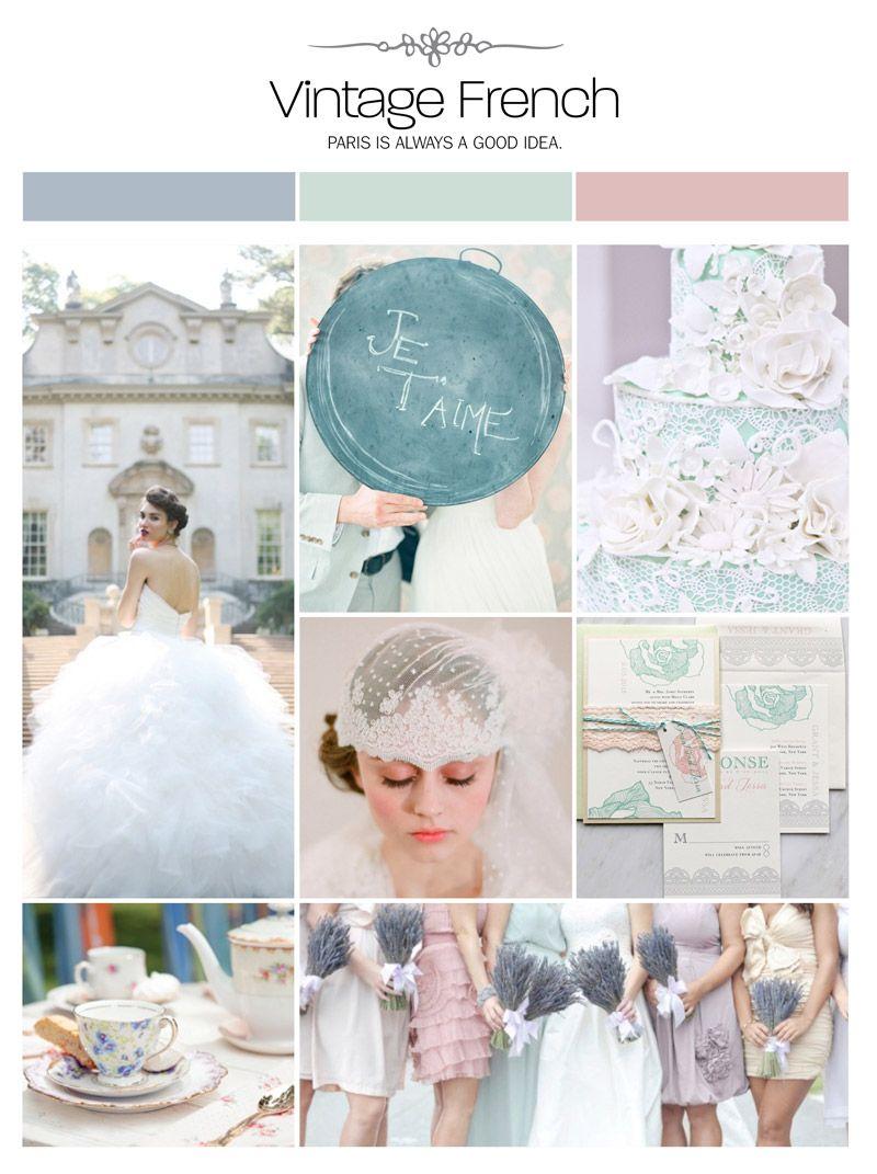 Vintage French wedding inspiration board, color palette, mood board ...