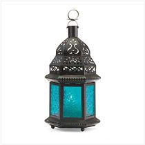Blue Glass Moroccan Lantern #blue #glass #moroccan #lantern #morocco #party #decorate